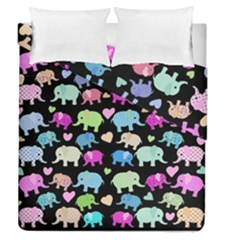 Cute Elephants  Duvet Cover Double Side (queen Size) by Valentinaart