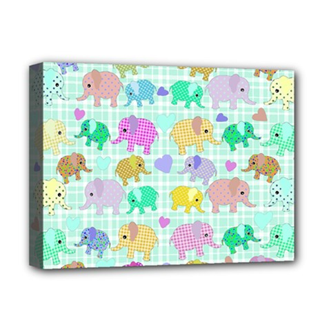 Cute Elephants  Deluxe Canvas 16  X 12   by Valentinaart