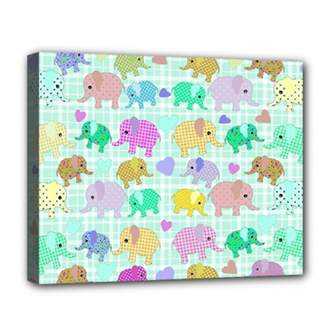 Cute Elephants  Deluxe Canvas 20  X 16   by Valentinaart