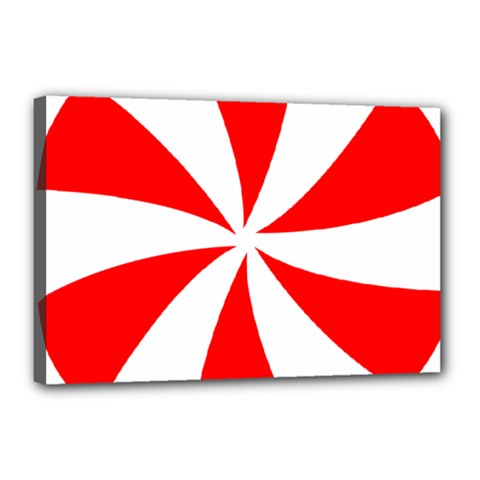 Candy Red White Peppermint Pinwheel Red White Canvas 18  X 12  by Alisyart