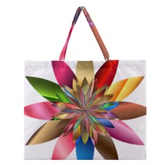 Chromatic Flower Gold Rainbow Zipper Large Tote Bag by Alisyart