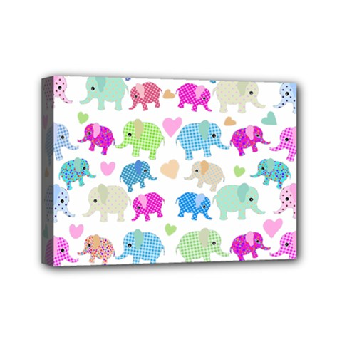 Cute Elephants  Mini Canvas 7  X 5  by Valentinaart