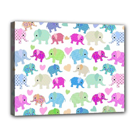 Cute Elephants  Canvas 14  X 11  by Valentinaart