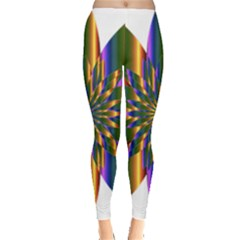 Chromatic Flower Gold Rainbow Star Light Leggings  by Alisyart