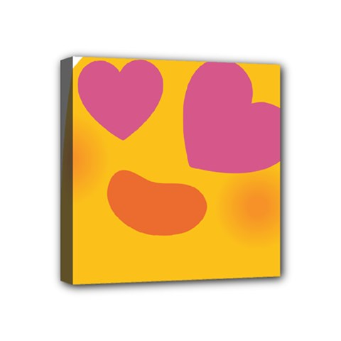 Emoji Face Emotion Love Heart Pink Orange Emoji Mini Canvas 4  X 4  by Alisyart