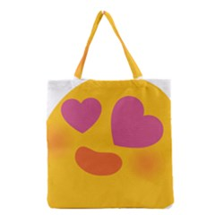 Emoji Face Emotion Love Heart Pink Orange Emoji Grocery Tote Bag by Alisyart