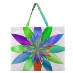 Chromatic Flower Variation Star Rainbow Zipper Large Tote Bag by Alisyart