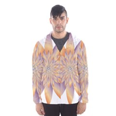 Chromatic Flower Gold Star Floral Hooded Wind Breaker (men) by Alisyart
