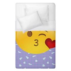 Face Smile Orange Red Heart Emoji Duvet Cover (single Size) by Alisyart