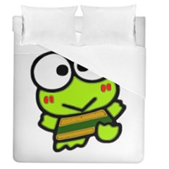 Frog Green Big Eye Face Smile Duvet Cover (queen Size) by Alisyart