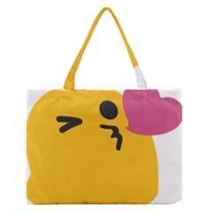 Happy Heart Love Face Emoji Medium Zipper Tote Bag by Alisyart