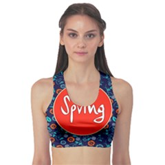 Floral Texture Pattern Card Floral Seamless Vector Sports Bra by Simbadda