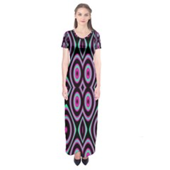 Colorful Seamless Pattern Vibrant Pattern Short Sleeve Maxi Dress by Simbadda