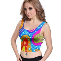 Hand Painted Digital Doodle Abstract Pattern Crop Top by Simbadda