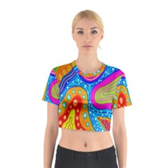 Hand Painted Digital Doodle Abstract Pattern Cotton Crop Top by Simbadda