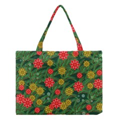 Completely Seamless Tile With Flower Medium Tote Bag by Simbadda