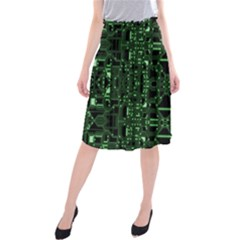 An Overly Large Geometric Representation Of A Circuit Board Midi Beach Skirt by Simbadda