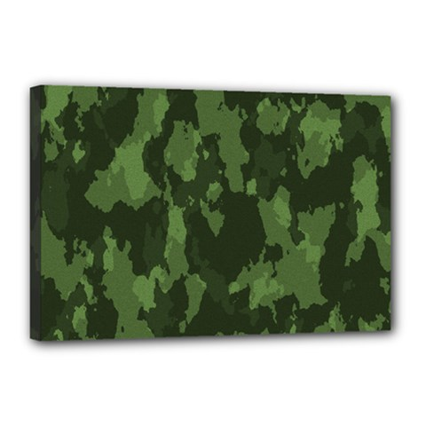 Camouflage Green Army Texture Canvas 18  X 12  by Simbadda