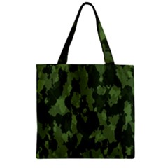 Camouflage Green Army Texture Zipper Grocery Tote Bag by Simbadda