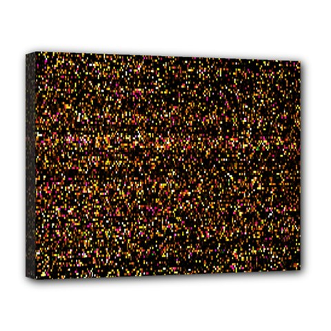 Pixel Pattern Colorful And Glowing Pixelated Canvas 14  X 11  by Simbadda
