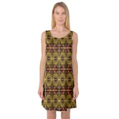 Seamless Symmetry Pattern Sleeveless Satin Nightdress