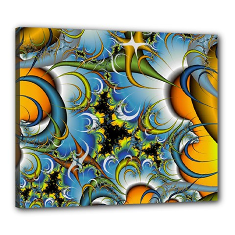 Fractal Background With Abstract Streak Shape Canvas 24  X 20  by Simbadda