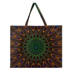Vibrant Colorful Abstract Pattern Seamless Zipper Large Tote Bag by Simbadda