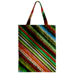 Colorful Stripe Extrude Background Zipper Classic Tote Bag by Simbadda