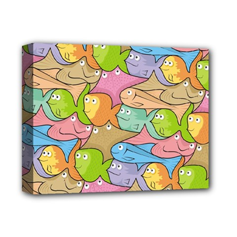 Fishes Cartoon Deluxe Canvas 14  X 11  by sifis