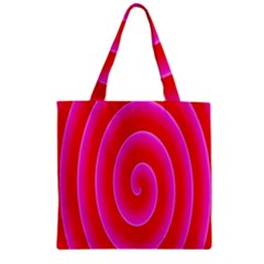 Pink Hypnotic Background Zipper Grocery Tote Bag by Simbadda