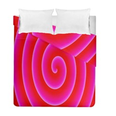 Pink Hypnotic Background Duvet Cover Double Side (full/ Double Size) by Simbadda