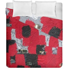 Red Black Gray Background Duvet Cover Double Side (california King Size) by Simbadda