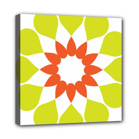 Tikiwiki Abstract Element Flower Star Red Green Mini Canvas 8  X 8  by Alisyart