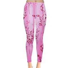 Pink Curtains Background Leggings  by Simbadda
