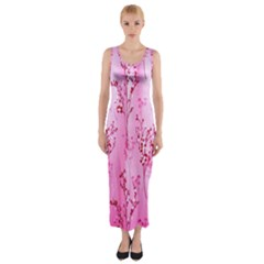 Pink Curtains Background Fitted Maxi Dress by Simbadda