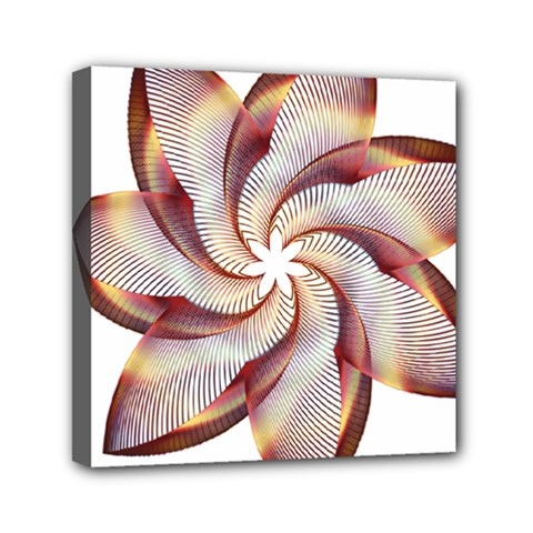 Prismatic Flower Line Gold Star Floral Mini Canvas 6  X 6  by Alisyart