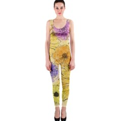 Multi Flower Line Drawing Onepiece Catsuit by Simbadda
