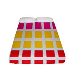 Squares Pattern Background Colorful Squares Wallpaper Fitted Sheet (full/ Double Size) by Simbadda
