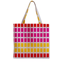 Squares Pattern Background Colorful Squares Wallpaper Zipper Grocery Tote Bag by Simbadda