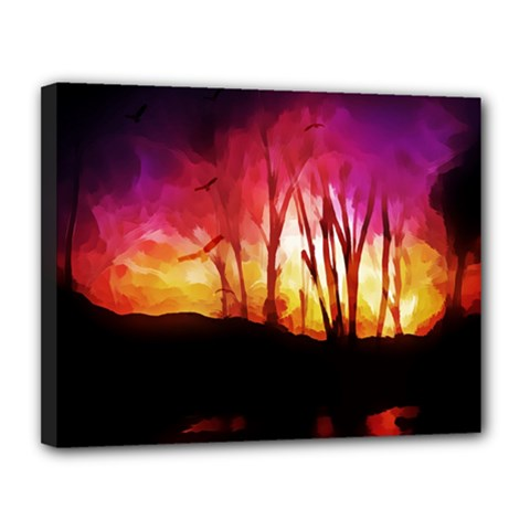 Fall Forest Background Canvas 14  X 11  by Simbadda