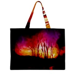 Fall Forest Background Mini Tote Bag by Simbadda
