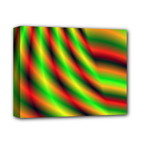 Neon Color Fractal Lines Deluxe Canvas 14  X 11  by Simbadda