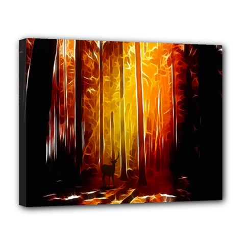 Artistic Effect Fractal Forest Background Canvas 14  X 11  by Simbadda