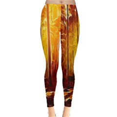 Artistic Effect Fractal Forest Background Leggings  by Simbadda