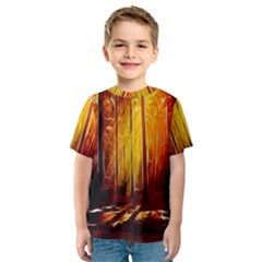 Artistic Effect Fractal Forest Background Kids  Sport Mesh Tee by Simbadda