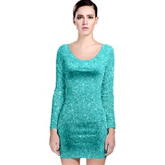 Tiffany Aqua Blue Glitter Long Sleeve Bodycon Dress by PodArtist