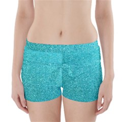 Tiffany Aqua Blue Glitter Boyleg Bikini Wrap Bottoms by PodArtist