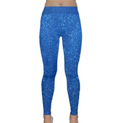 Night Sky Sparkly Blue Glitter Classic Yoga Leggings by PodArtist
