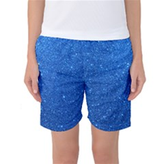 Night Sky Sparkly Blue Glitter Women s Basketball Shorts by PodArtist