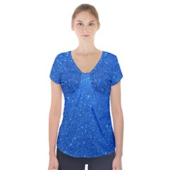 Night Sky Sparkly Blue Glitter Short Sleeve Front Detail Top by PodArtist